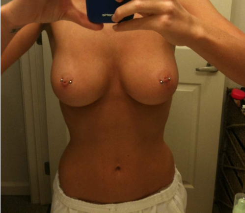 sexy set of knockers with pierced nipples selfie